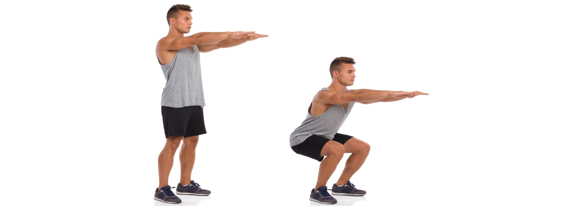 male arms out in front in starting position of a body weight squat then in the squat position